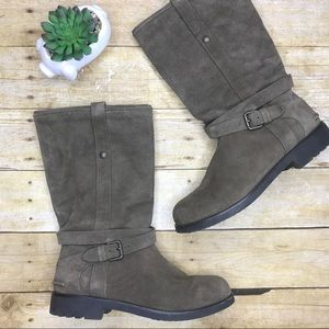 Coach Vallie Taupe Suede Boots